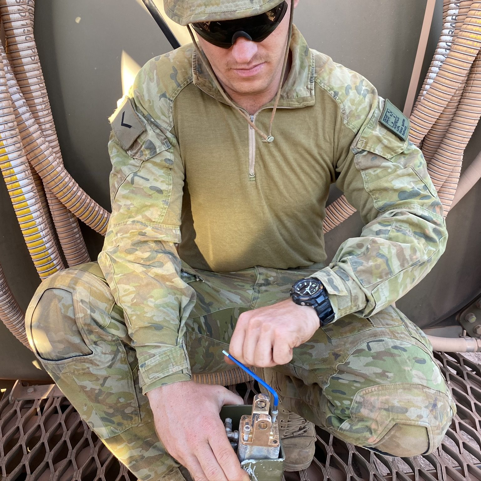 Australian Army Soldier with SPEE3D printed part